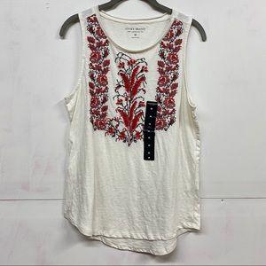 Lucky Brand 100% Cotton Embroidered Sleeveless Tee